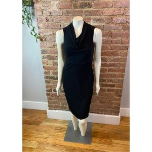 Donna Karan Little Black Cowl Neck Sheath Dress